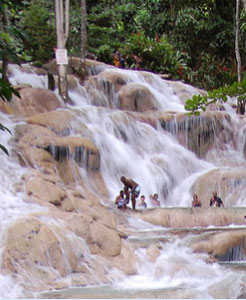 The waterfalls or springs and it is truly one of the most beautiful spots on the island.